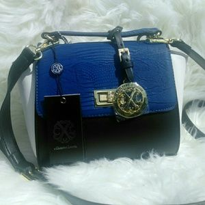 Blue and white Christian LaCroix cross body purse